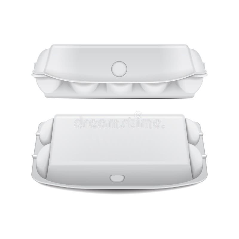 鸡蛋的假装传染媒介模板,白色空的蛤壳状机件容器箱子盘子 10个蛋假装包裹 库存例证