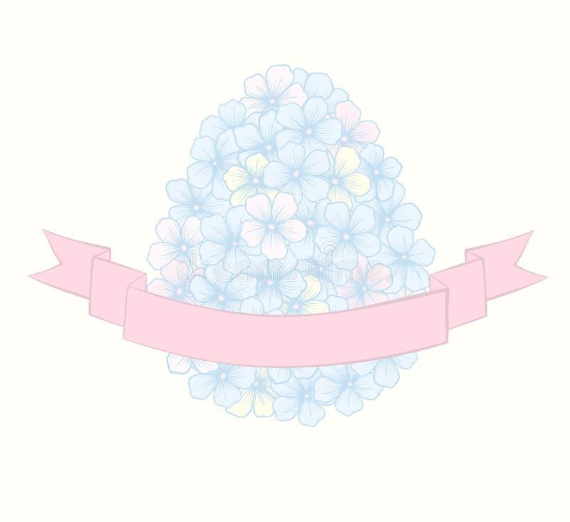 以鸡蛋的形式花与丝带标记。 库存例证