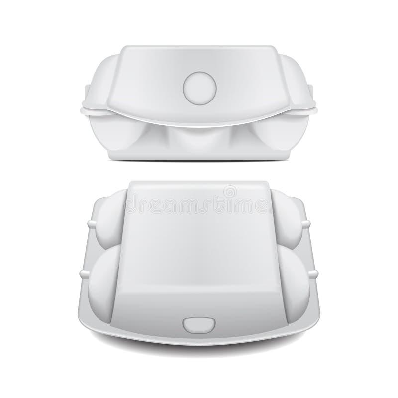 鸡蛋的箱子盘子假装传染媒介模板,白色空的蛤壳状机件容器 6个蛋假装包裹集合 库存例证