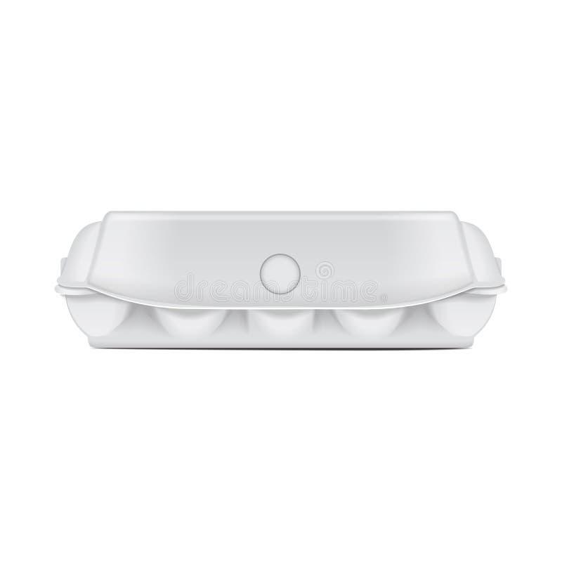 鸡蛋的箱子盘子假装传染媒介模板,白色空的蛤壳状机件容器 10个蛋假装包裹集合 o 皇族释放例证