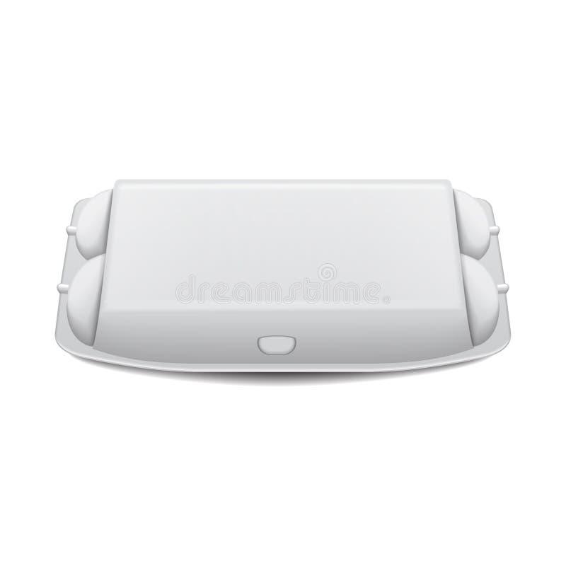 鸡蛋的箱子盘子假装传染媒介模板,白色空的蛤壳状机件容器 10个蛋假装包裹 向量例证