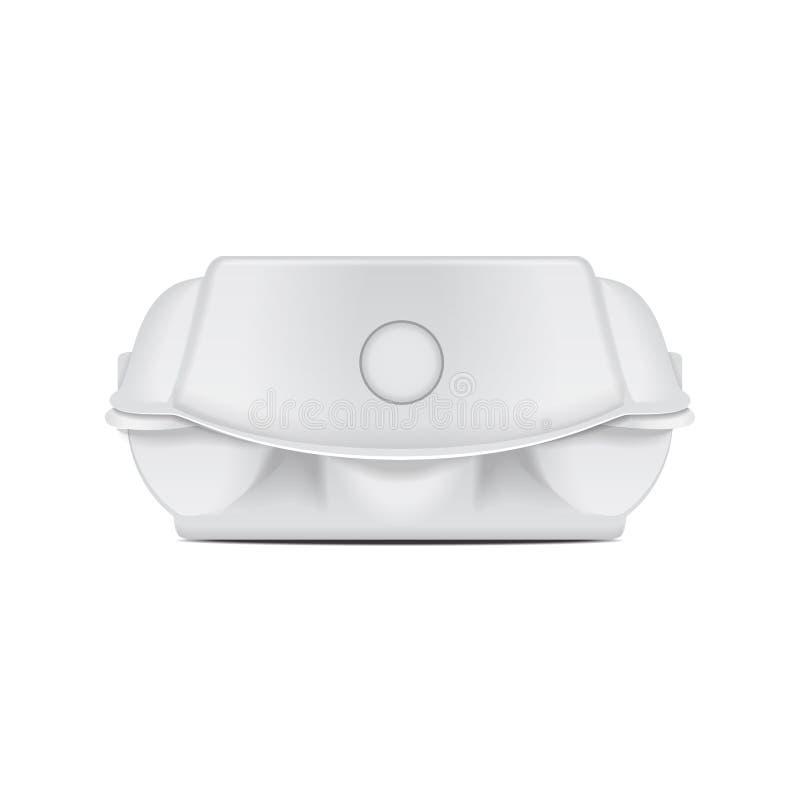 鸡蛋的箱子盘子假装传染媒介模板,白色空的蛤壳状机件容器 6个蛋假装包裹 o 库存例证
