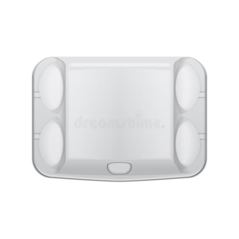 鸡蛋的箱子盘子假装传染媒介模板,白色空的蛤壳状机件容器 6个蛋假装包裹 r 向量例证