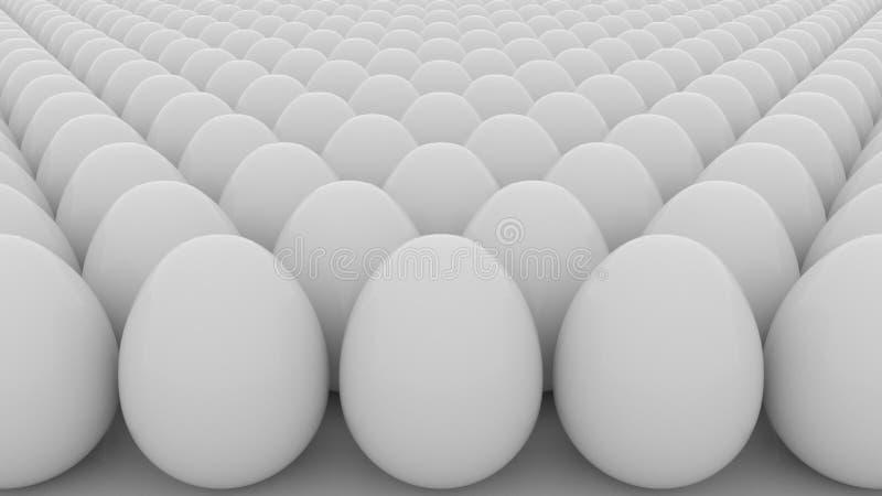 鸡蛋 命令、起动、平等或者千篇一律概念 3d翻译 库存例证