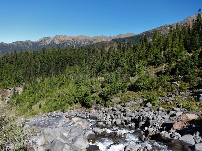 鸡血石的小河跑北部,以山为目的 库存照片