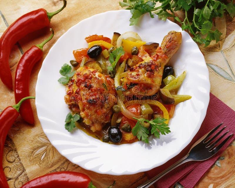 鸡被炖的蔬菜 免版税库存照片