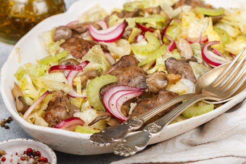 鸡鸭子、鹅、兔子肝脏、卷心莴苣、红洋葱、芹菜和油煎的蘑菇温暖的沙拉  免版税库存照片