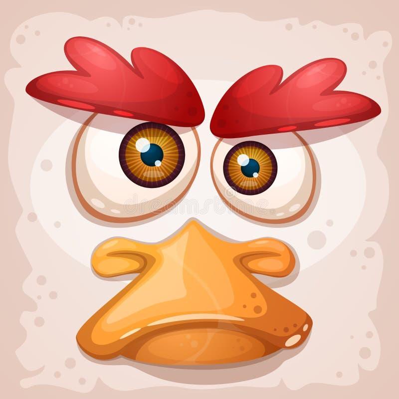 鸡,鸭子,一只疯狂的鸟是一个滑稽的例证 向量例证