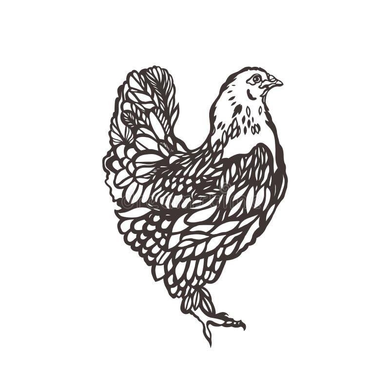 鸡 家禽 鸟绘与墨水 鸡产品的标签 种田 家畜上升 拉长的现有量 皇族释放例证