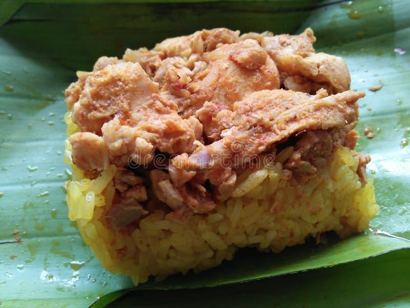 鸡黄色米咖喱 图库摄影