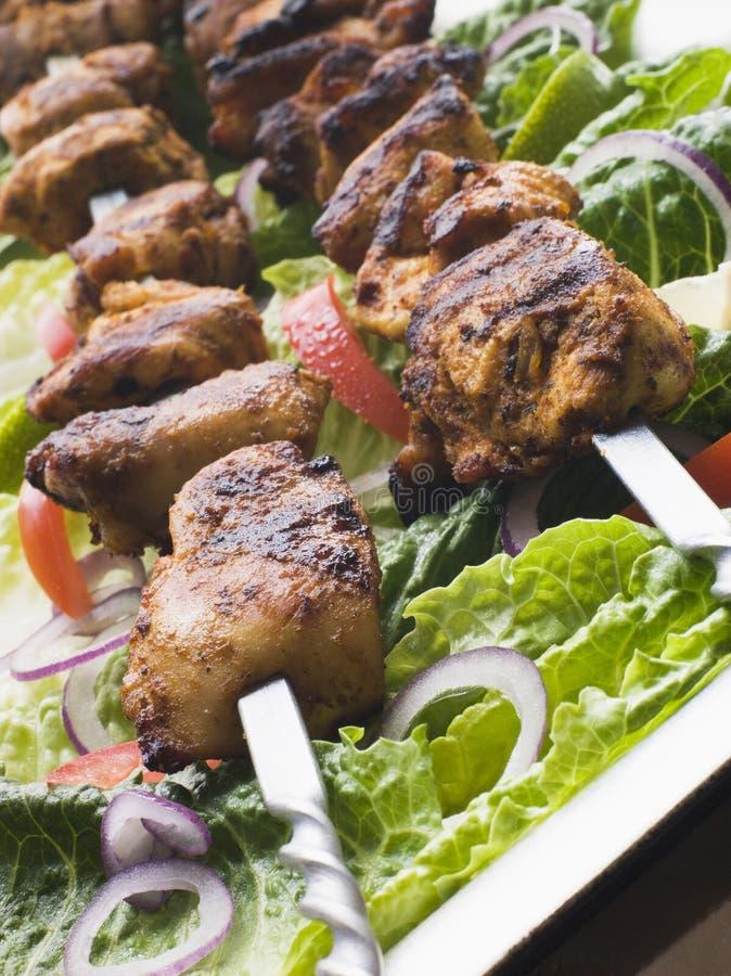 鸡kebabs用了卤汁泡shashlik tikka 库存图片