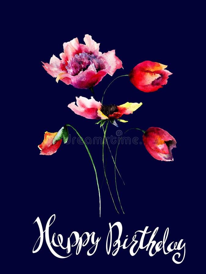 鸦片、牡丹和郁金香花与标题生日快乐 皇族释放例证