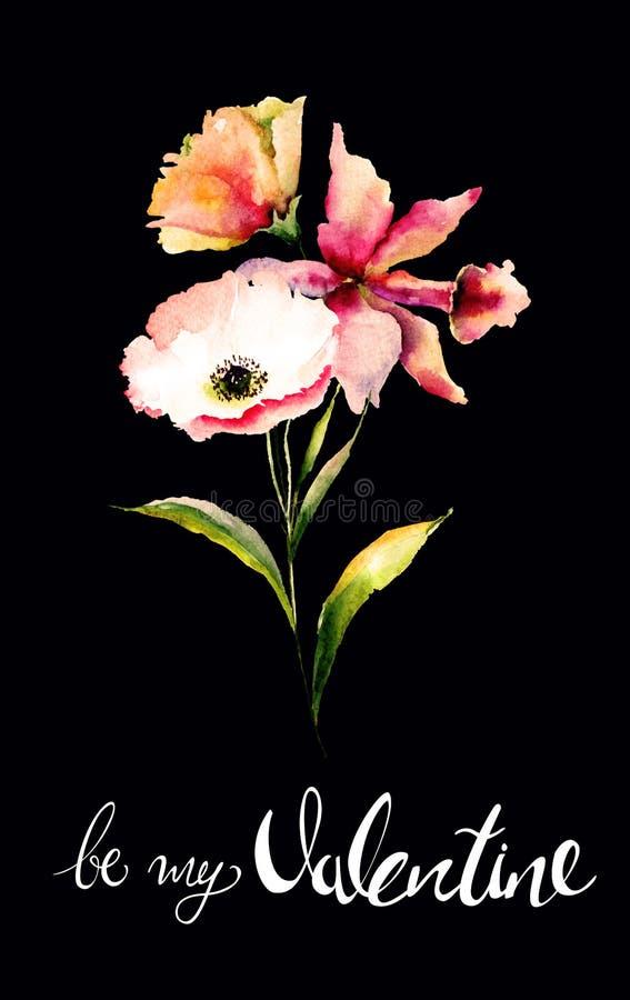 鸦片和百合开花与标题是我的华伦泰 库存例证
