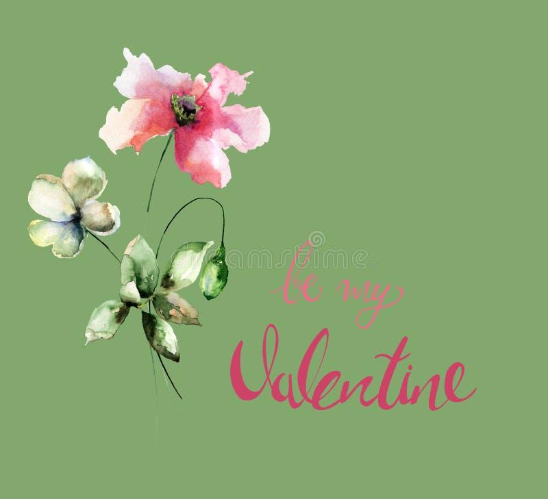 鸦片和郁金香开花与标题是我的华伦泰 库存例证