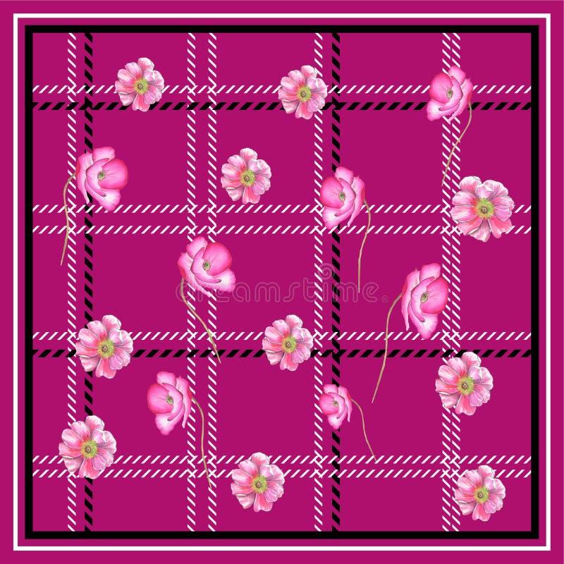 鸦片花围巾正方形流行粉红BACKGROUN 向量例证