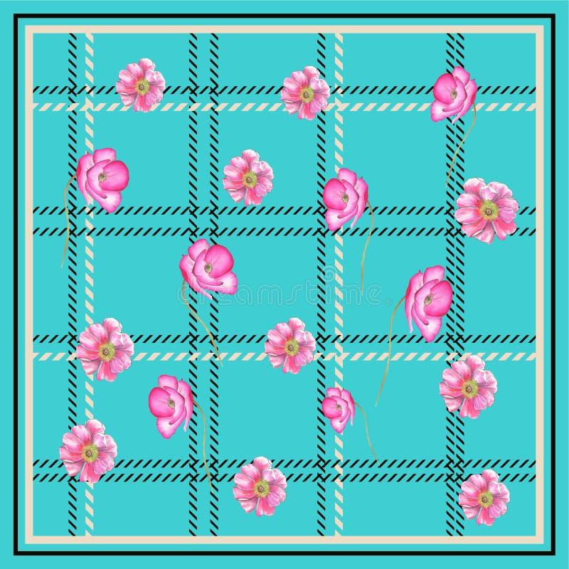 鸦片花围巾正方形绿松石BACKGROUN 向量例证