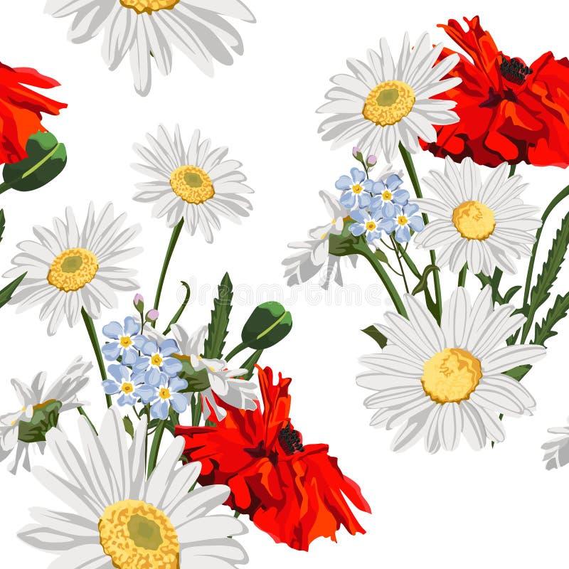 鸦片花的无缝的样式与春黄菊春黄菊、叶子和勿忘草花的在白色背景 向量例证