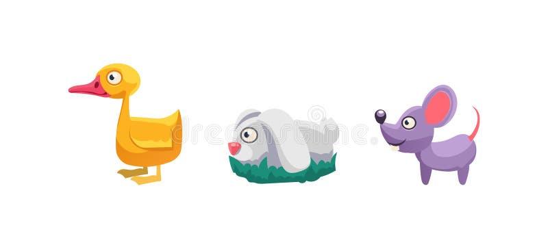 鸭子、兔子和老鼠、滑稽的动画片牲口、比赛用户界面、元素机动性的或计算机游戏传染媒介 向量例证