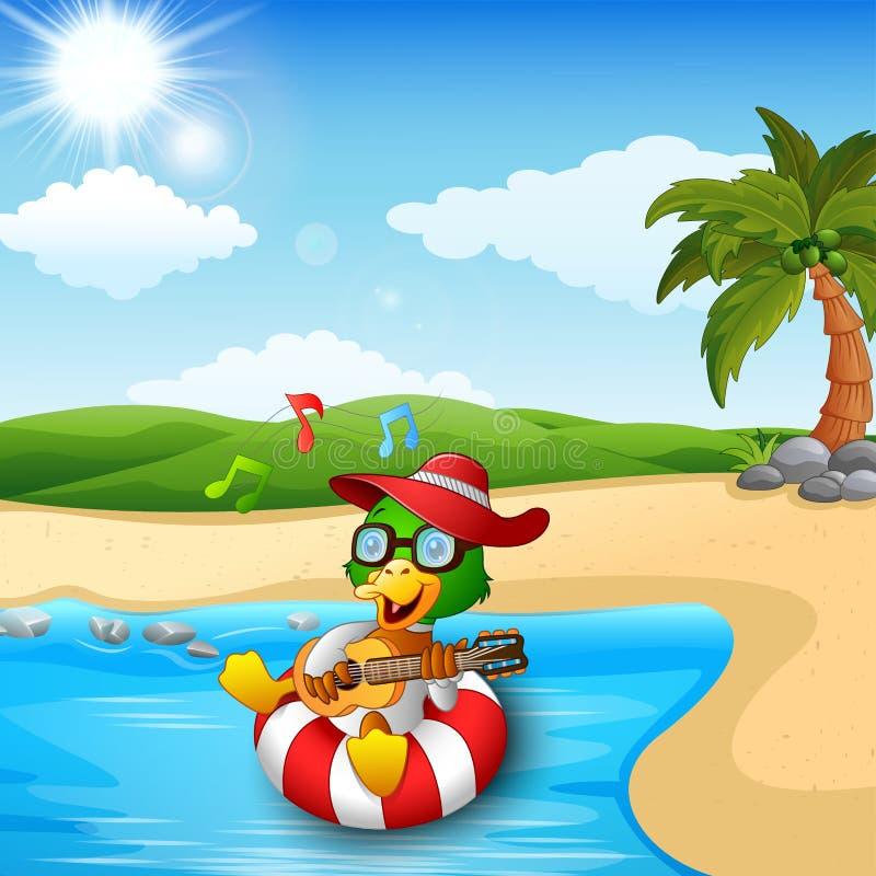 鸭子动画片喜欢弹吉他和唱歌在海滩 库存例证