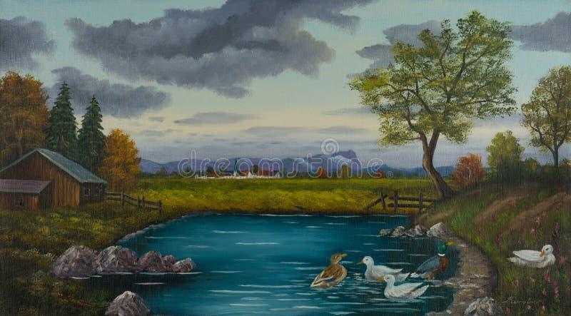 鸭子在一个村庄附近的一个池塘在草甸后 向量例证