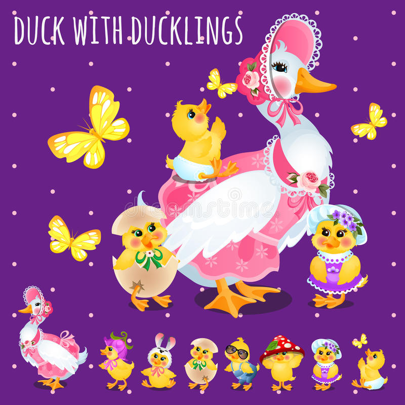 鸭子用鸭子,大滑稽的家庭 向量例证