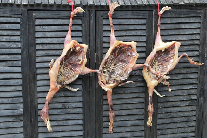 鸭子肉露天烘干,宏村,中国 免版税库存图片
