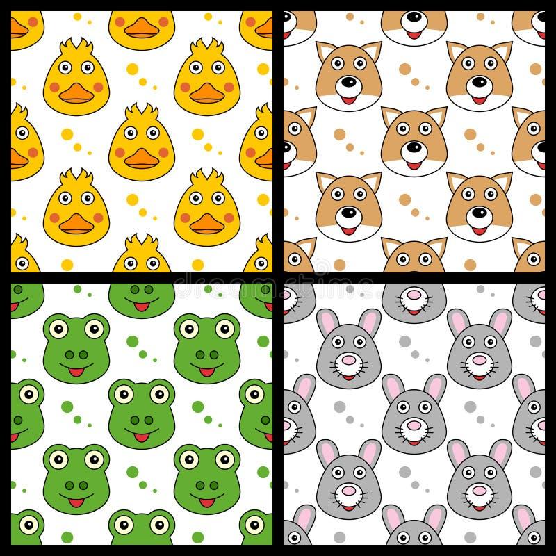 鸭子Fox无缝青蛙的兔子 库存例证