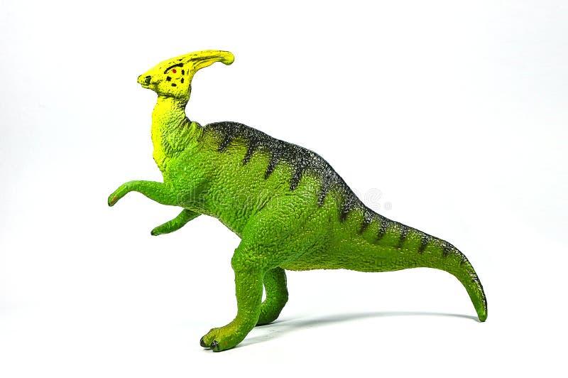 鸭嘴龙在白色背景的恐龙塑料 免版税库存照片