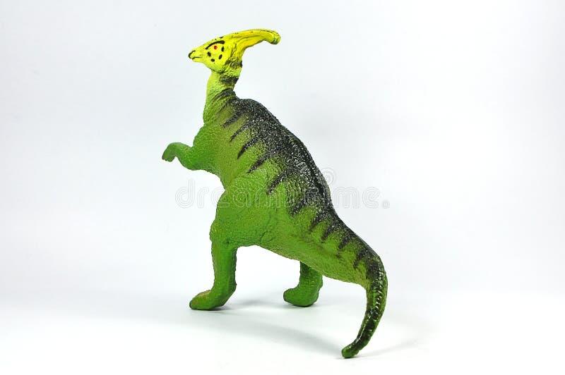 鸭嘴龙在白色背景的恐龙塑料 库存照片