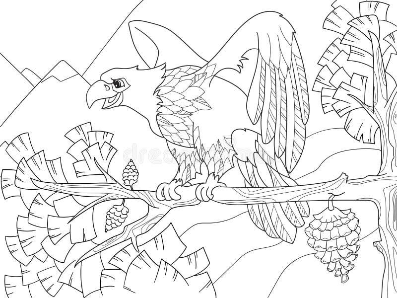 鸷是在树枝的一只老鹰 在圣诞树的猎鹰 着色孩子 向量例证
