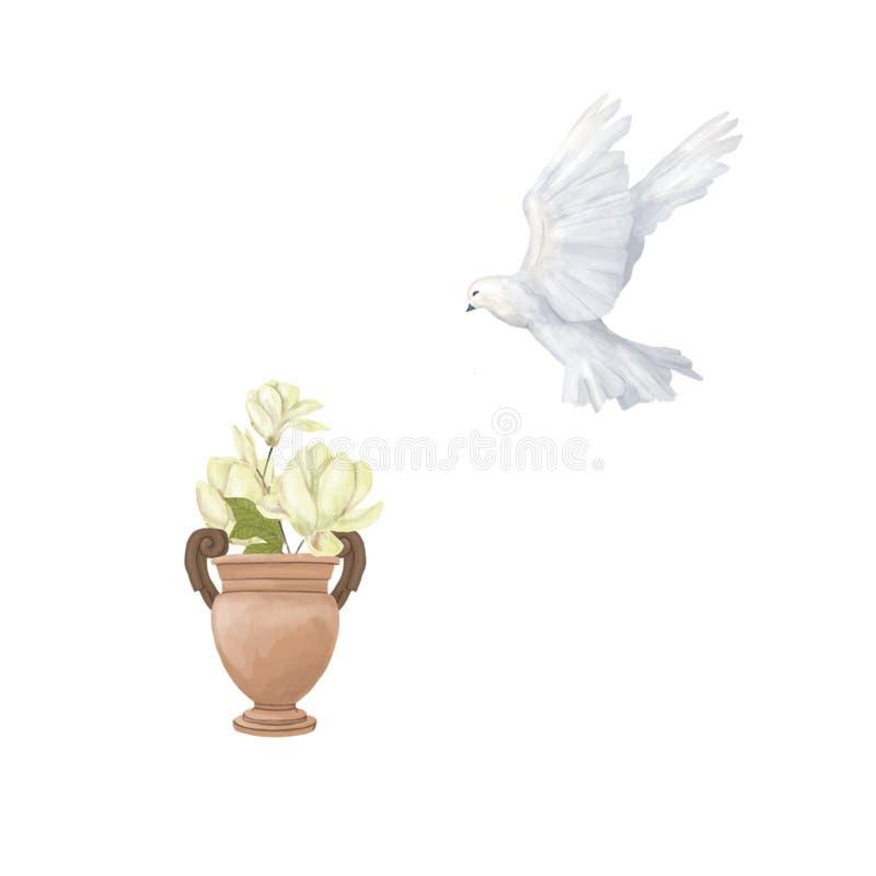 鸽子剪贴美术数字式图画水彩鸟飞行开花和花瓶木兰例证相似在白色背景 皇族释放例证