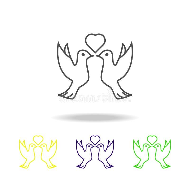 鸽子和心脏多彩多姿的象 婚礼的元素,稀薄的线多彩多姿的象可以为网,商标,流动应用程序,UI,UX使用 向量例证