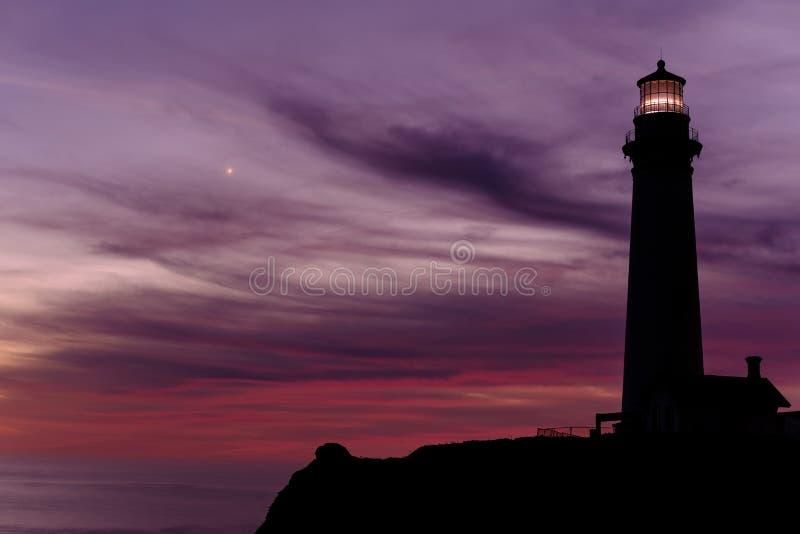 鸽子在日落的点灯塔,在1871年建立 库存照片