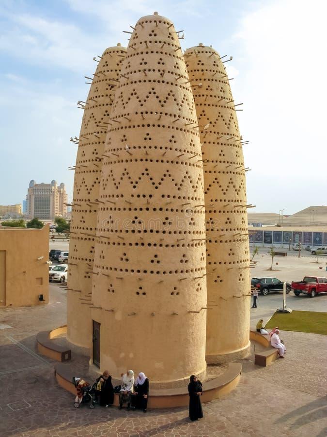 鸽子塔在文化村庄,多哈,卡塔尔 免版税库存图片