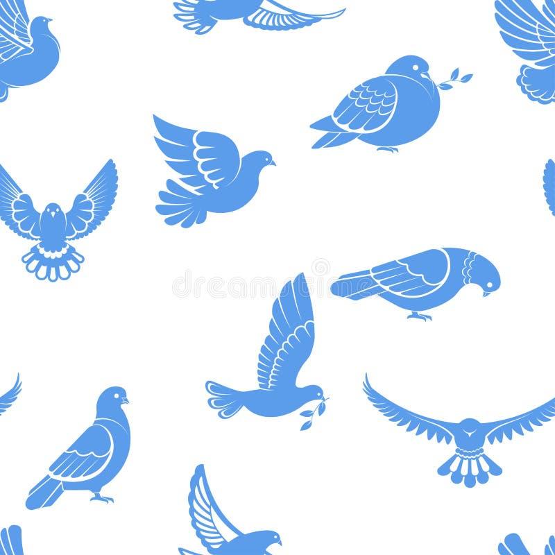 鸽子或鸠、白色鸟飞行与被涂的翼在天空或坐的无缝的样式 皇族释放例证