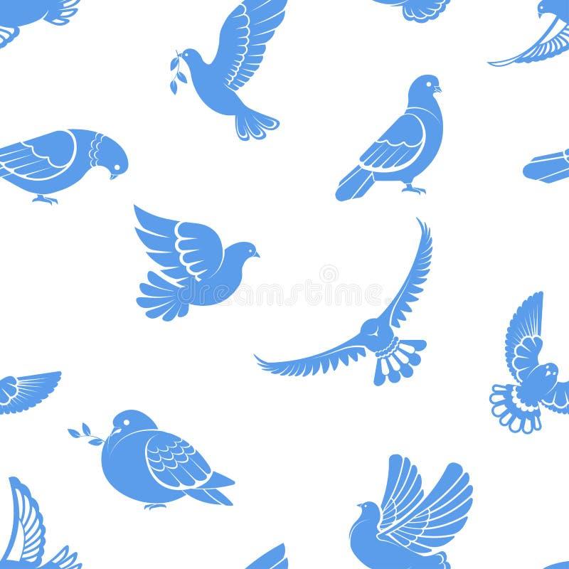 鸽子或鸠、白色鸟飞行与被涂的翼在天空或坐的无缝的样式 向量例证