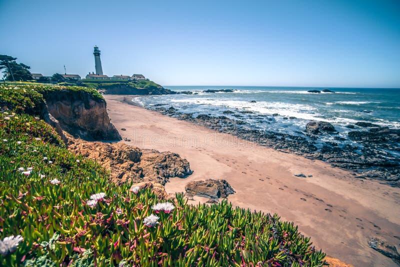 鸽子点灯塔和风景在太平洋海岸 库存图片