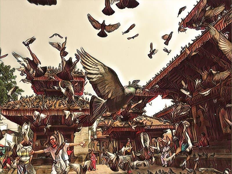 鸽子飞行在老镇中心 飞行葡萄酒数字式例证的鸽子群 库存照片