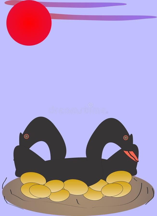 黑鹅下了金黄鸡蛋 库存例证