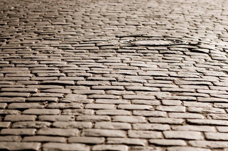 鹅卵石老路 免版税库存图片