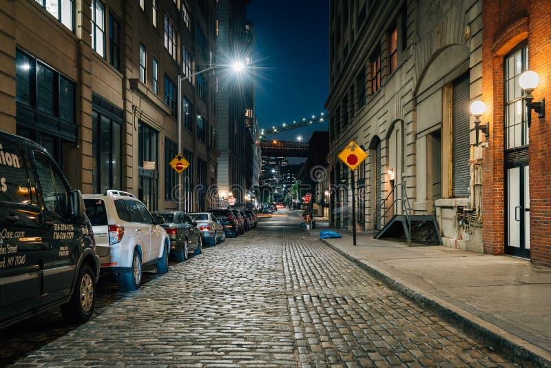 鹅卵石街道在DUMBO,布鲁克林,纽约的晚上 免版税库存照片