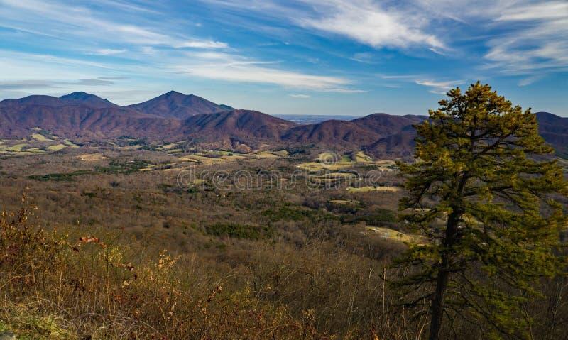 鹅小河谷和蓝岭山脉晚秋天视图  库存照片