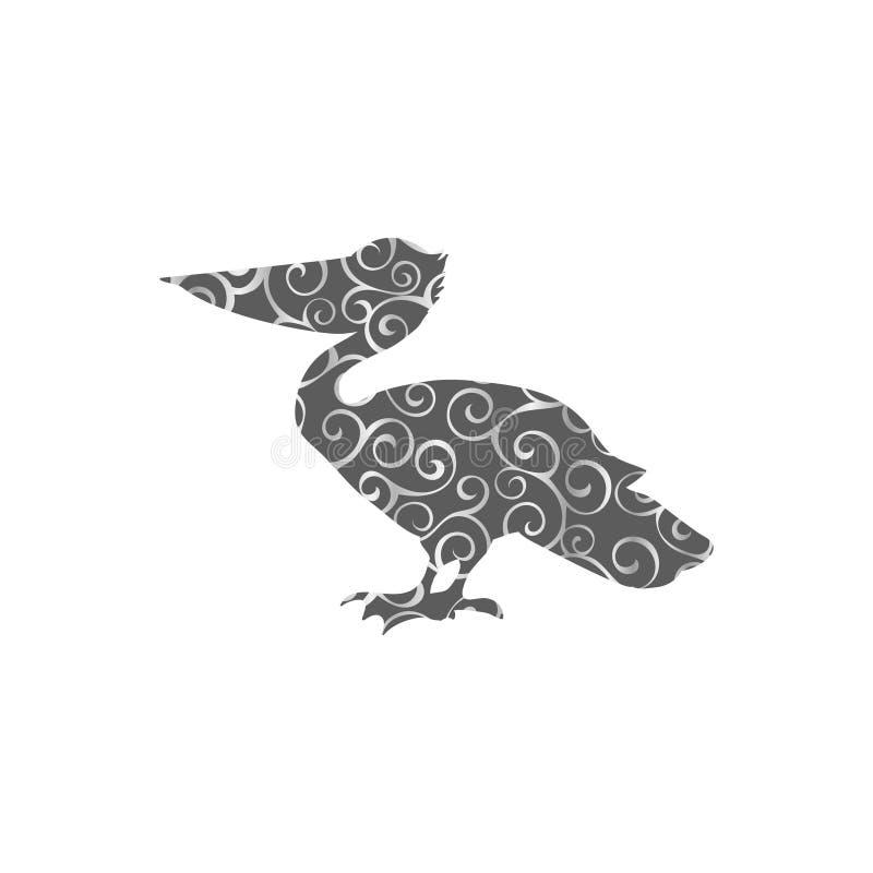 鹈鹕鸟螺旋样式颜色剪影动物 皇族释放例证