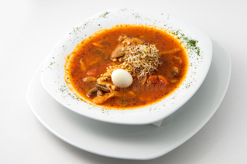 鹌鹑汤用鸡蛋 免版税库存图片