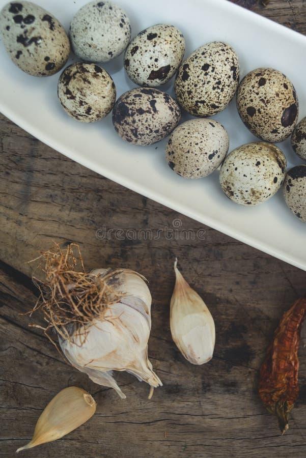 鹌鹑蛋和大蒜 库存照片