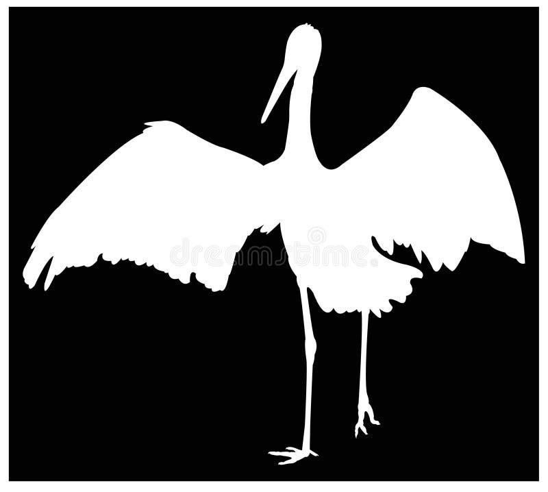鹳剪影-大waterbird 库存例证