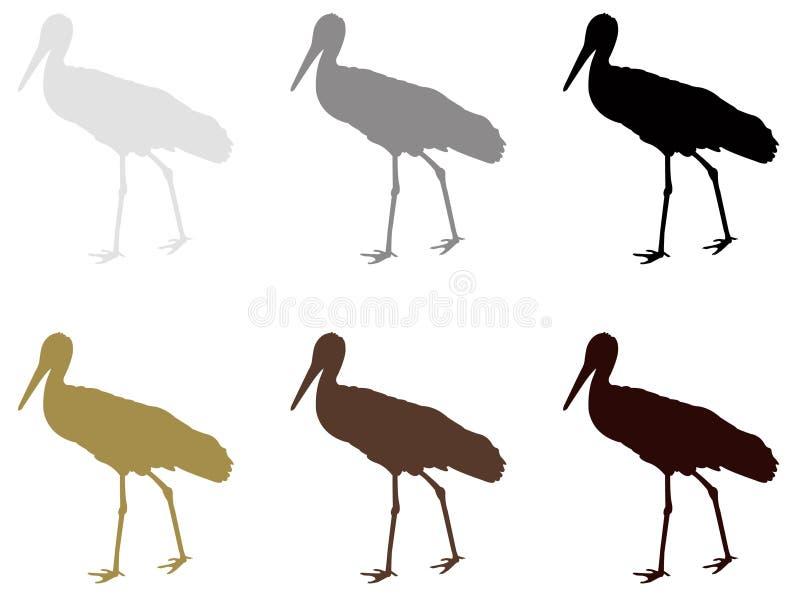 鹳剪影-大waterbird 向量例证
