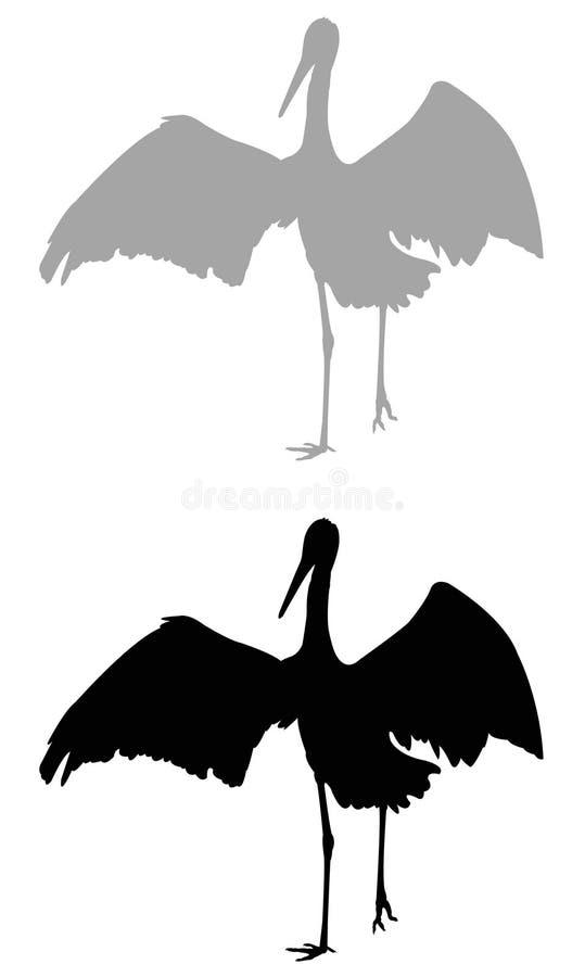 鹳剪影-大waterbird 皇族释放例证
