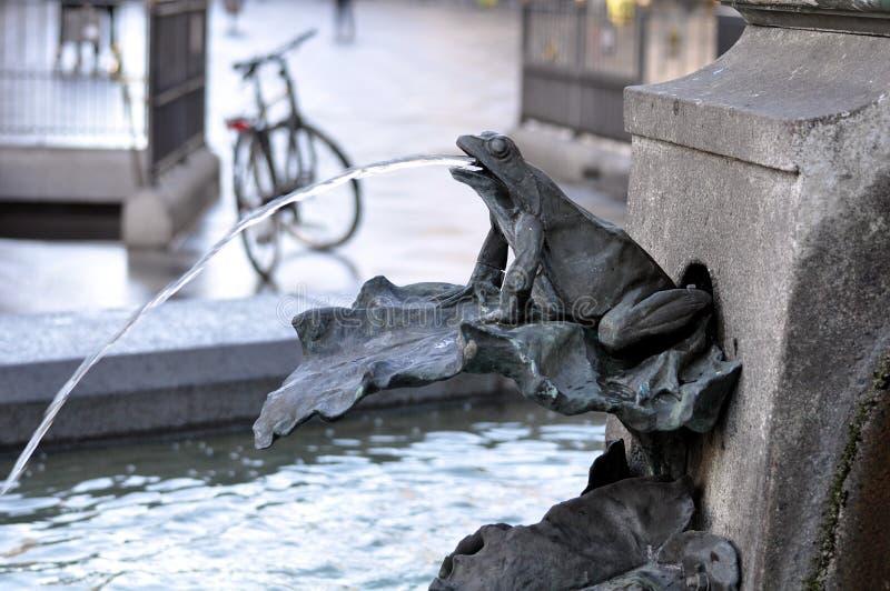 鹳喷泉,哥本哈根,丹麦 库存照片
