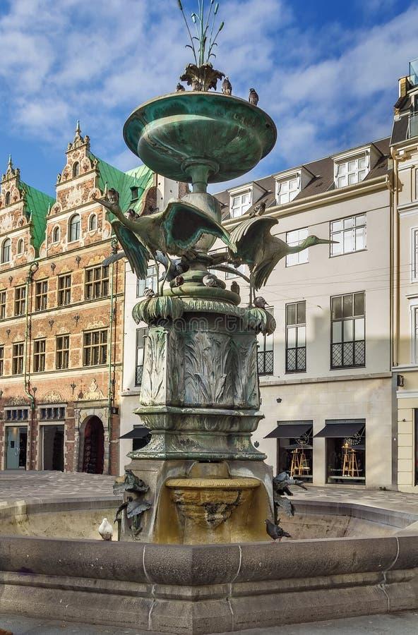 鹳喷泉,哥本哈根 图库摄影